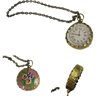 Gorgeous Enamel Pocket Watch Chatelaine for your French Fashion Doll