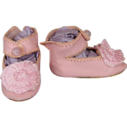 Artisan Made Pink Leather Doll Shoes with Pink Silk Rosettes