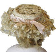 Wonderful Antique Lace Hat for your French Fashion or Smaller Bebe Doll