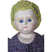 "Antique 19"" Papier-Mache  Doll With Molded Hair Bow and Headband"