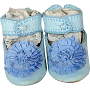 Artisan Made Blue Leather Doll Shoes with Blue Silk Rosettes