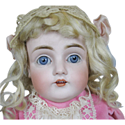"18"" Antique German Kestner Bisque Head Doll with Original Curly Blonde Mohair Wig"