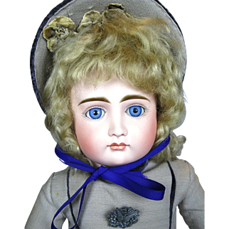 """21"""" Early Kestner Closed Mouth Pouty Child Antique German Doll"""