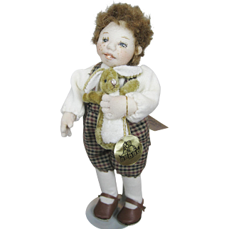 "ODACA Doll Artist Kathi Clarke Stockinette Needlepoint 6"" Doll and Velveteen Rabbit"