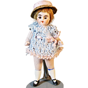 """Antique All Bisque 4"""" German Doll with Jointed Arms and Legs"""