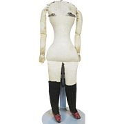 """Antique Cloth Doll Body with Leather """"Glove"""" Hands and Red Leather Shoes"""