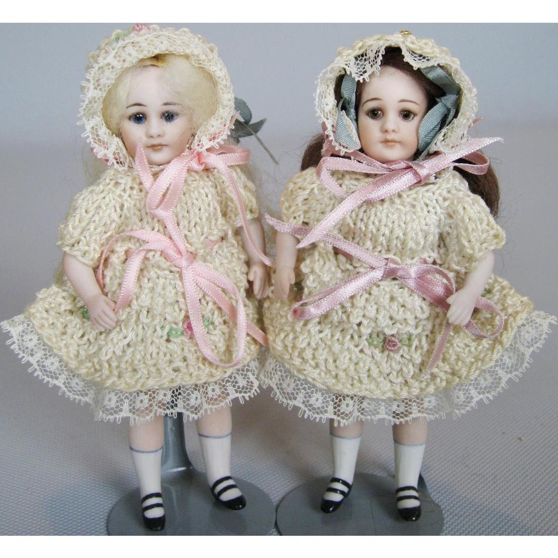 "5"" All Bisque Artist Mignonette Dolls ~ So Adorable with Crochet Dresses!"