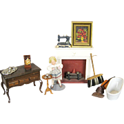 Assortment Antique and Vintage Doll House Items ~ Doll, Oil Painting, ETC