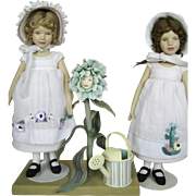 """Two Maggie Iacono """"Meadow"""" Dolls UFDC 2009 Atlanta Convention with Stand"""
