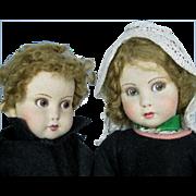 Wonderful 1930s  Italian or French Pair of Felt Cloth Dolls,  All Original