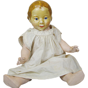 """Unusual 11"""" Wax Head Toddler Doll with Compo Body"""