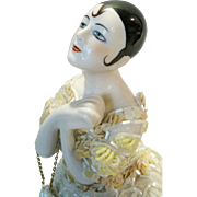 Art Deco Flapper Pincushion Pierrot Half Doll with Magnificent Dress ~ Large Size!