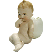 Rare Gebruder Heubach All Bisque Action Position Baby with Egg