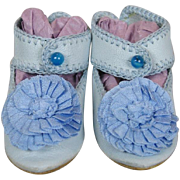 Blue Leather French Jumeau Doll Shoes with Silk Ribbon Rosettes Made By Artisan