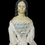 "19"" German Papier Mache Milliner Model Type Doll, All Original"