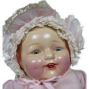 1920s 30s Composition Baby Doll, Original Dress & Bonnet, Dimples