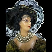 1920s Deco Wax Head French Fashion Doll