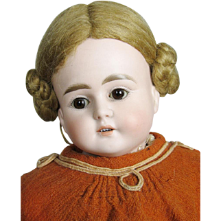 """Antique 19"""" German ABG Turned Bisque Head Doll"""