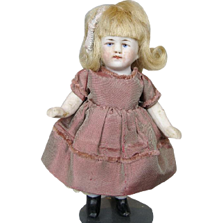 """Antique 4 1/2"""" All Bisque German Doll House Doll A/O"""