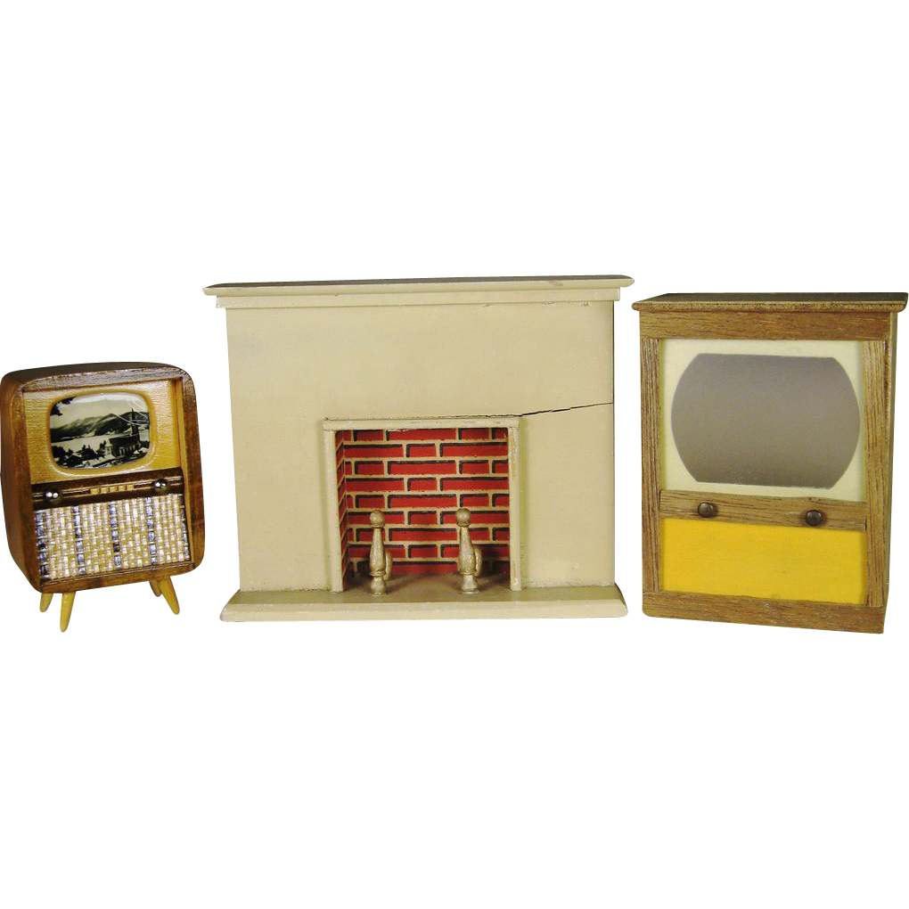 Vintage Dollhouse Furniture For Sale Part - 34: Vintage Dollhouse Furniture ~ German Fireplace And Two Retro Televisions TV  - Red Tag Sale Item