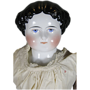 Antique German China Head Doll ~ Stern Look