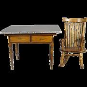 Dollhouse Miniature Wood Kitchen Work Table w Metal Top + Windsor Rocker