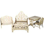 Fretwork Miniature Doll Furniture ~ Bed, Settee, Table and Chair