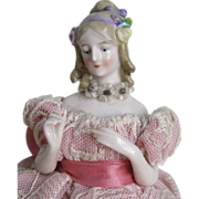 Antique Goebel Jenny Lind Half Doll ~ Dressed, Gorgeous!
