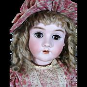 Huge Antique Handwerck Halbig German Bisque Head Doll, Original Marked Shoes and Original Wig