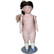 Antique German All Bisque Doll with Original Wig