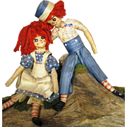 Vintage Raggedy Ann and Andy Cornhusk Artist Dolls ~ So Adorable!
