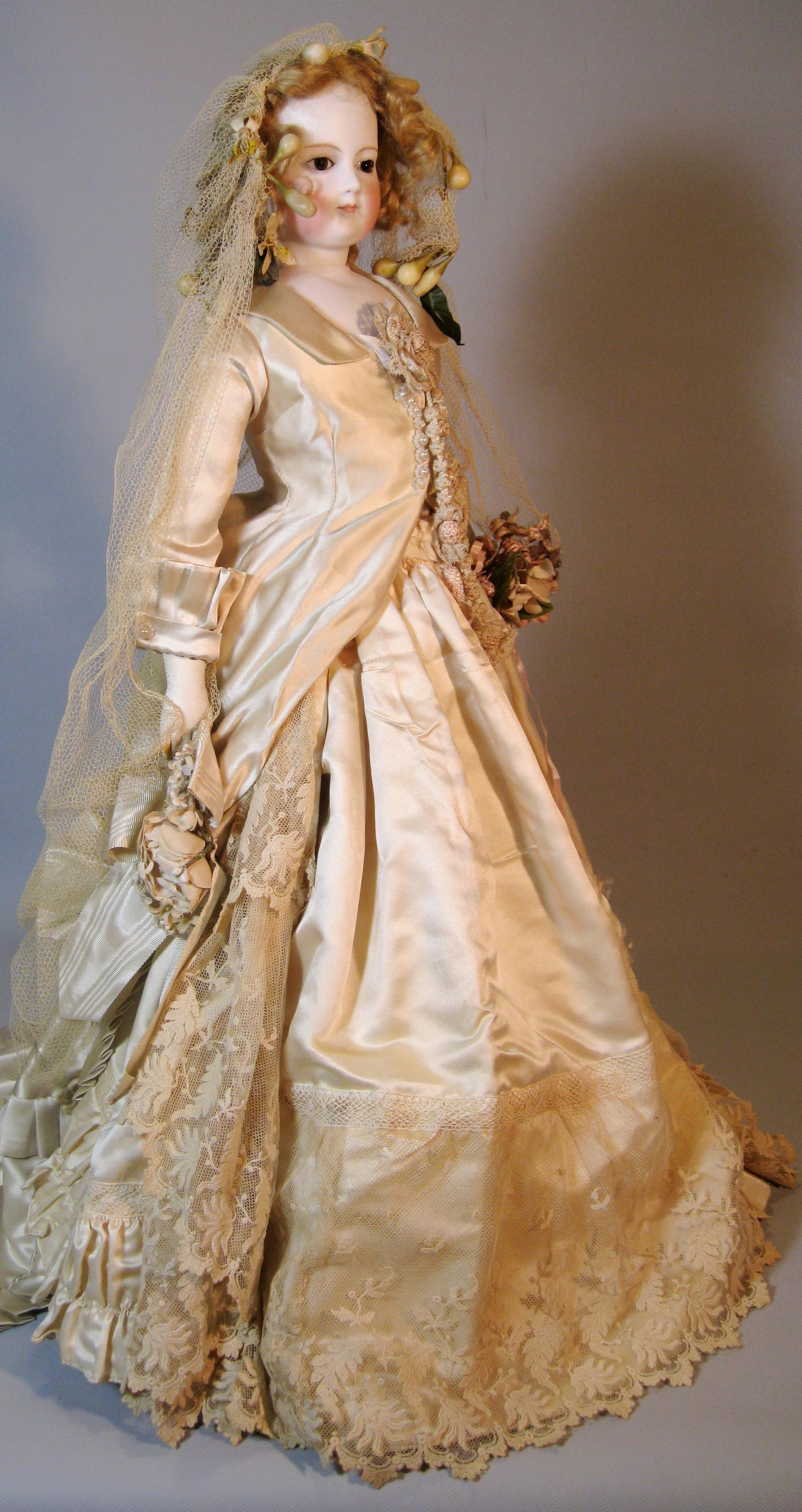 Antique French Fashion Bisque Head Doll Bride Large