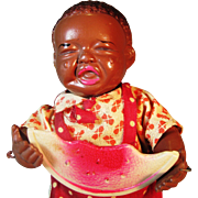 1930s Black Americana Wind Up Figurine Japanese Celluloid Crying Baby Boy Watermelon Pickaninny Poor Pete Doll Toy
