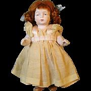 "Sweet 5"" All Bisque German Doll in Wonderful Dress"