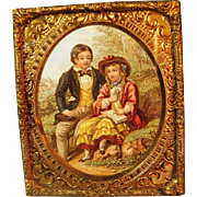 Antique Miniature Ormolu Doll House Picture in Ornate Frame