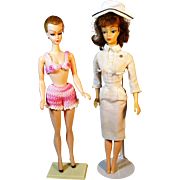 Two Vintage Barbie Clone Dolls - Reliable Mitzi and Hong Kong Lilli Type