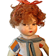 Antique German Felt Cloth Side-glancing Papier Mache Doll,  So Cute!