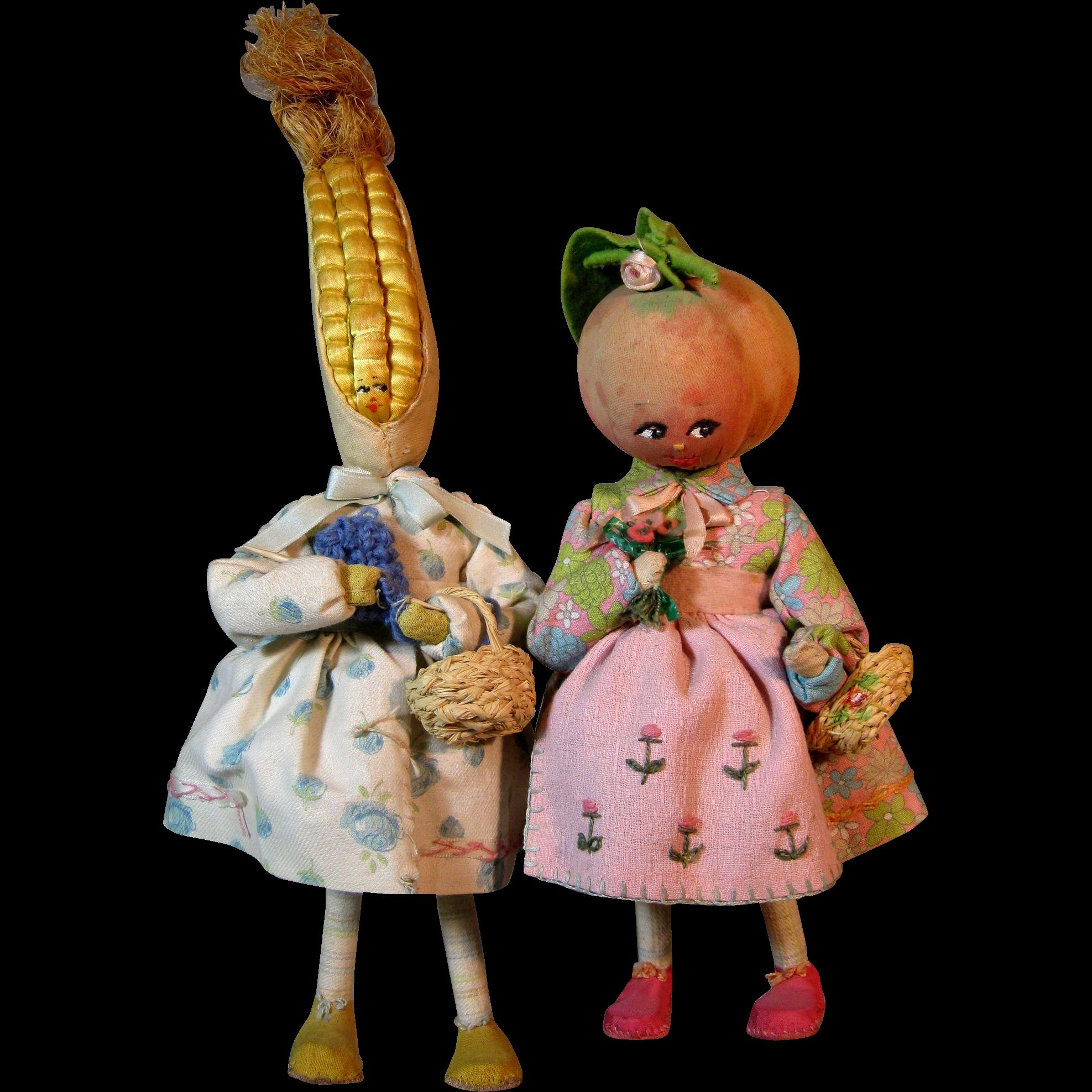 Vintage Italian Cloth Vegetable Fairy Dolls ~ Tomato and ...