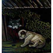 English Bull Dog & Cat Original Antique Folk Art Oil Primitive Painting on Russell Canvas, Great Gold Frame