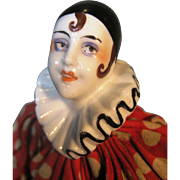 Antique Deco Porcelain Pierrot Pierrette Clown Half Doll ~ Fully Clothed, Rare Twine & Mache Body Mold 14618