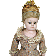 A/O All Original Wax Over Papier Mache German Doll ~ Great Dress and Hat!