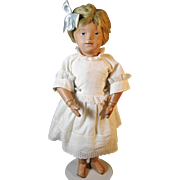 Solemn Faced Schoenhut Wood Pouty Doll with Intaglio Eyes