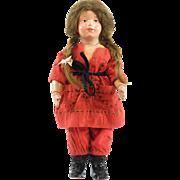 Antique Schoenhut Wood Doll, Pouty Face