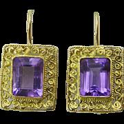 Handmade 18 karat Gold and Amethyst Earring