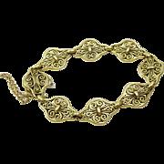 Vintage French 18 k Gold Filigree Hand made Bracelet