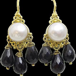 Handmade Pearl and Onyx 9 karat Gold Earrings