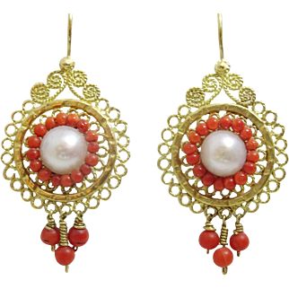Handmade 18 karat Gold Wire work earrings with corals