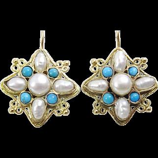 Handmade 9 karat Gold Pearl and Turquoise Earrings
