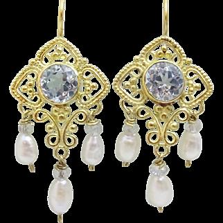 Handmade 9 karat Gold Blue Topaz and Pearl Earrings