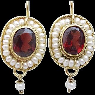 Handmade 9 karat Gold, Garnet and Pearl Earrings